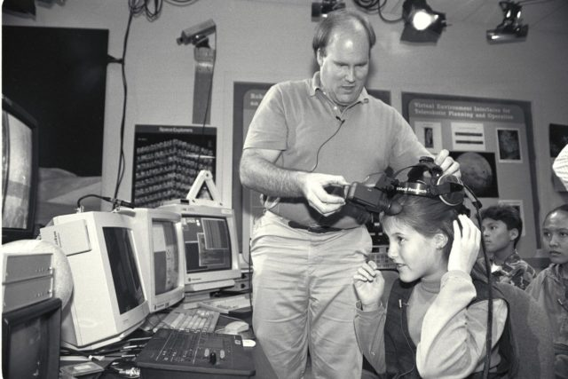 'Life from other Worlds' with McNair Middle School TROV robot explores under Antarctic ice - image during demo Ames reseacher Bob Hine leads students operating TROV ARC-1993-A93-0608-1
