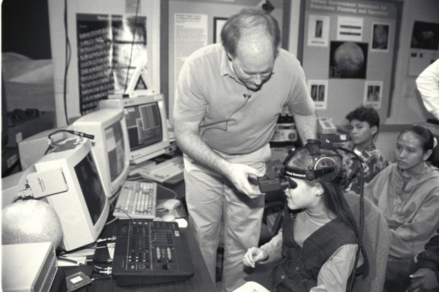 'Life from other Worlds' with McNair Middle School TROV robot explores under Antarctic ice - image during demo Ames reseacher Bob Hine leads students operating TROV ARC-1993-A93-06082