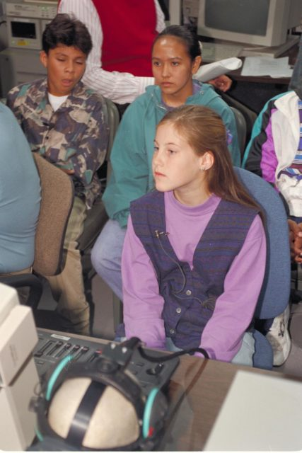 'Life from other Worlds' with McNair Middle School TROV robot explores under Antarctic ice - image during demo with students operating TROV ARC-1993-AC93-0608-15