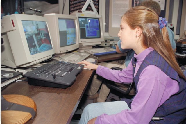 'Life from other Worlds' with McNair Middle School TROV robot explores under Antarctic ice - image during demo with students operating TROV ARC-1993-AC93-0608-18