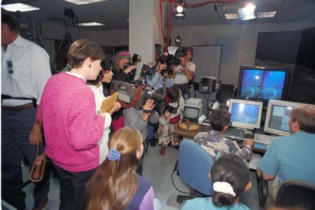 Life from other Worlds'  with McNair Middle School TROV robot explores under Antarctic ice-image during demo with students operating TROV ARC-1993-AC93-0608-32
