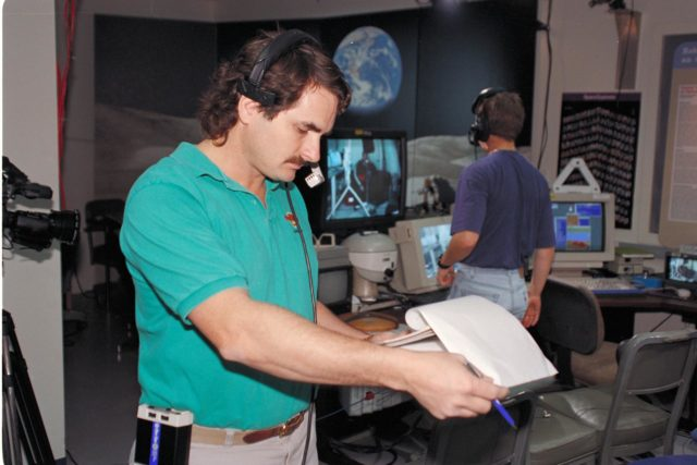 'Life from other Worlds' with McNair Middle School TROV robot explores under Antarctic ice - image shows Eric James during video setup ARC-1993-AC93-0608-48