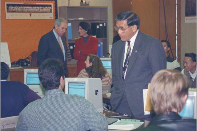 Congressman Norm Mineta and Congresswomen Anna Escho Visit Bay Area & Monte Vista High School, Cupertino, California to promote communications superhighway along with VP Al Gore ARC-1994-AC94-0004-21