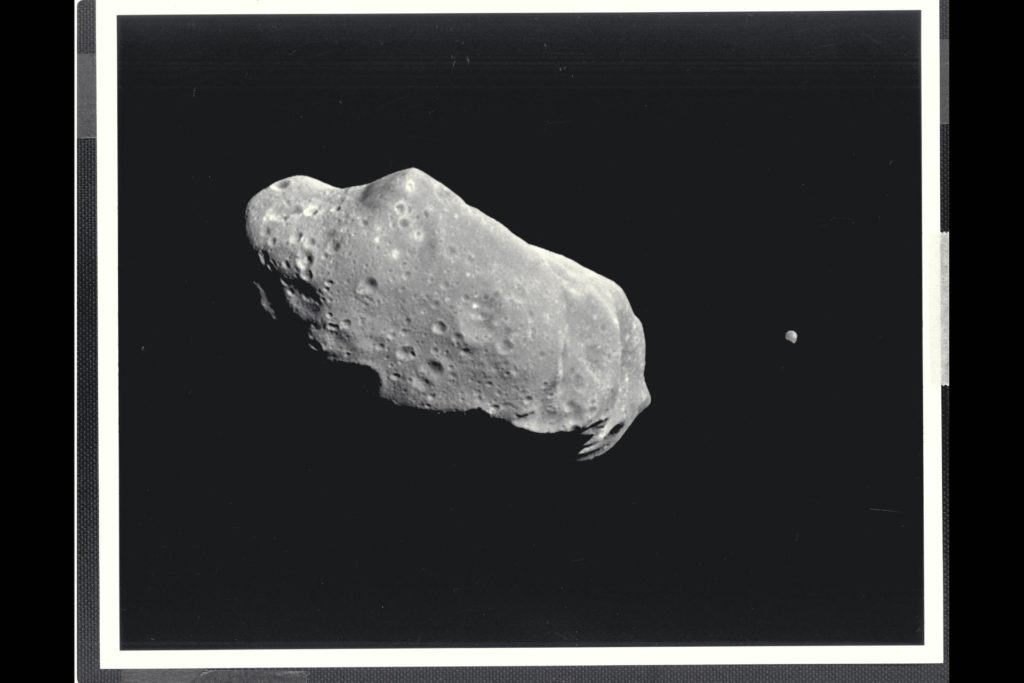 This image is the first full picture showing both asteroid 243 Ida and its newly discovered moon to be transmitted to Earth from NASA's Galileo spacecraft--the first conclusive evidence that natural satellites of asteroids exist.  Ida is the large object to the left, about 56 kilometers (35 miles long).  Ida's natural satellite is the small object to the right.  This portrait was taken by Galileo's charge-coupled device (CCD) camera on August 28, 1993, about 14 minutes before the spacecraft's closest approach to the asteriod, from a range of 10,870 kilometers (6,755 miles).  Ida is a heavily cratered, irregularly shaped asteroid in the main asteroid belt between Mars and Jupiter-- the 243rd asteroid to be discovered since the first one was found at the beginning of the 19th century.  It is a member of a group of asteroids called the Koronis family.  The small satellite, which is about 1.5 kilometers (1 mile) across in this view, has yet to be given a name by astronomers.  It has been provisionally designated '1993 (243) 1' by the International Astronomical Union.  (The numbers denote the year the picture was taken, the asteroid number and the fact that it is the first moon of Ida to be found.)  ALthough the satellite appears to be 'next' to Ida it is actually slightly in the foreground, closer to the spacecraft than Ida.  Combining this image with data from Galileo's near-infrared mapping spectrometer, the science team estimates that the object is about 100 kilometers (60 miles) away from the center of Ida.  This image is one of a six-frame series taken through different color filters, this one in green.  The spatial resolution in this image is about 100 meters (330 feet) per pixel.  The Galileo spacecraft flew past Ida en route to its final destination, Jupiter, where it will go into orbit in December 1995.  The Jet Propulsion Laboratory manages the galileo Project for NASA's Office of Space Science. (JPL ref. No. P-43731) ARC-1994-A91-2018