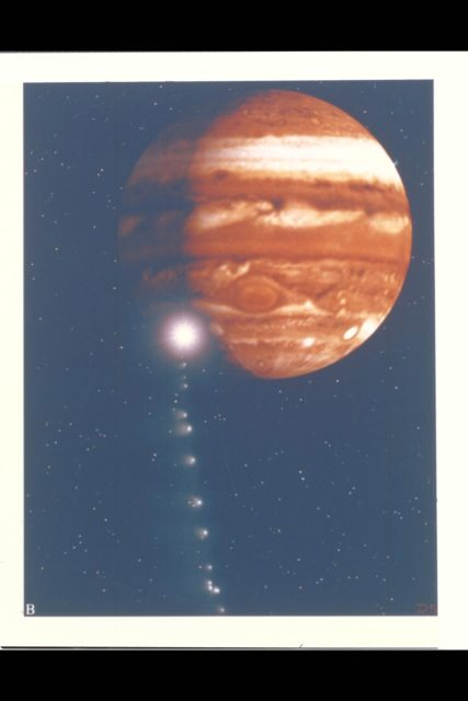 Photo Artwork composite by JPL This depiction of comet Shoemaker-Levy 9 impacting Jupiter is shown from several perspectives. IMAGE B shows the perspective from Galileo spacecraft which can observe the impact point directly. For visual appeal, most of the large cometary fragments are shown close to one another in this image. At the time of Jupiter impact, the fragments will be separated from one another by serveral times the distances shown. This image was created by D.A. Seal of JPL's Mission Design Section using orbital computations provIded by P.W. Chodas and D.K. Yeomans of JPL's Navigation Section. ARC-1994-AC94-0353-2B
