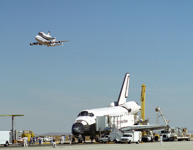 Endeavour on Runway with Columbia on SCA Overhead