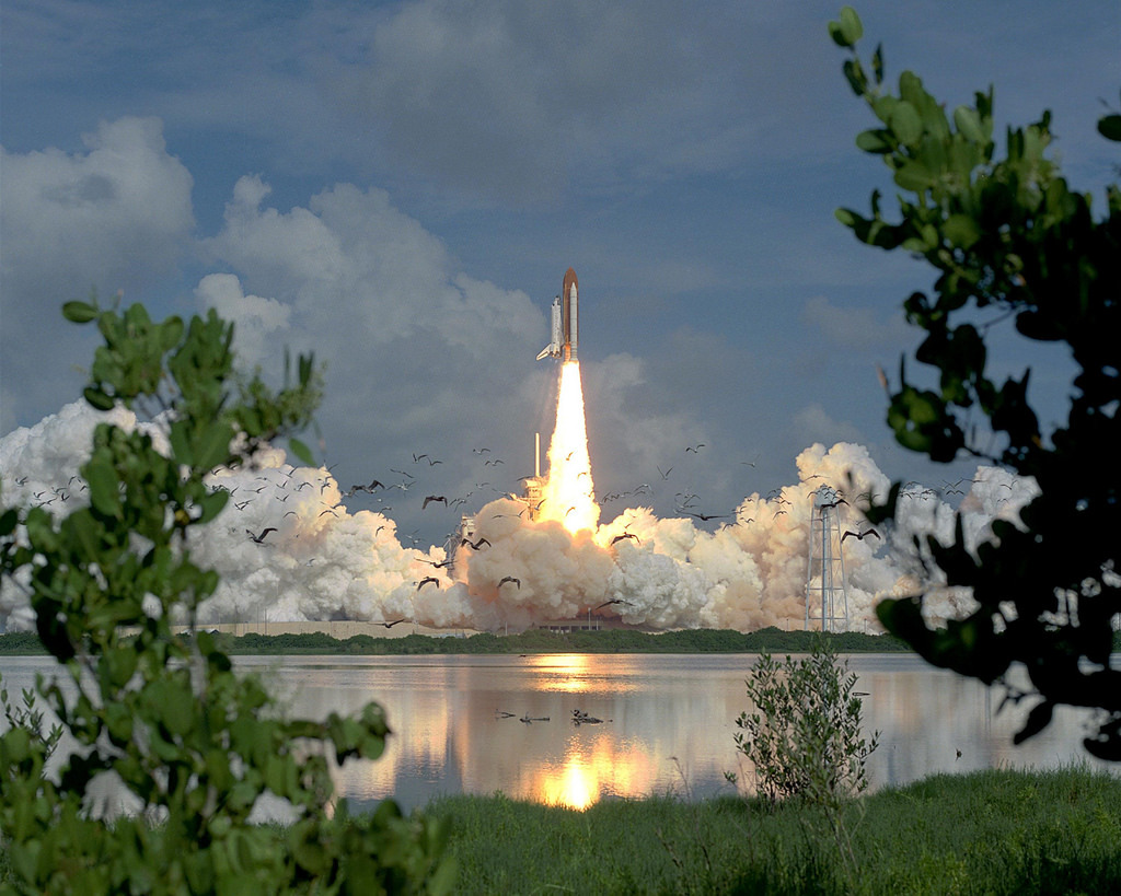 STS-70 Launch Startles Birds