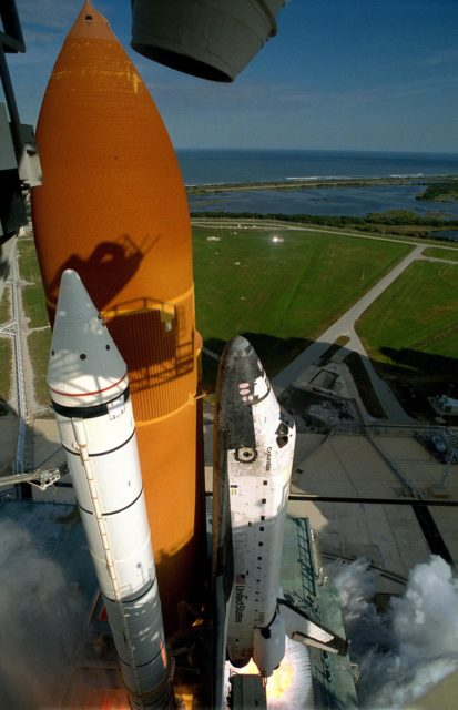 KENNEDY SPACE CENTER, FLA. -- A diversified mission of astronomy, commercial space research and International Space Station preparation gets under way as the Space Shuttle Columbia climbs into orbit from Launch Pad 39B at 2:55:47 p.m. EST, Nov. 19, 1996. During Mission STS- 80, Columbia's five-person crew will deploy and retrieve two free-flying spacecraft, conduct two spacewalks and perform a variety of microgravity research experiments in the Shuttle's middeck area. The veteran crew is led by Commander Kenneth D. Cockrell; Kent V. Rominger is the pilot and the three mission specialists are Tamara E. Jernigan, Story Musgrave and Thomas D. Jones. At age 61, Musgrave becomes the oldest person ever to fly in space; he also ties astronaut John Young's record for most number of spaceflights by a human being, and in embarking on his sixth Shuttle flight Musgrave has logged the most flights ever aboard NASA's reusable space vehicle. The two primary payloads for STS-80 are the Wake Shield Facility-3 (WSF-3) and the Orbiting and Retrievable Far and Extreme Ultraviolet Spectrometer-Shuttle Pallet Satellite II (ORFEUS-SPAS II). KSC-96pc1290