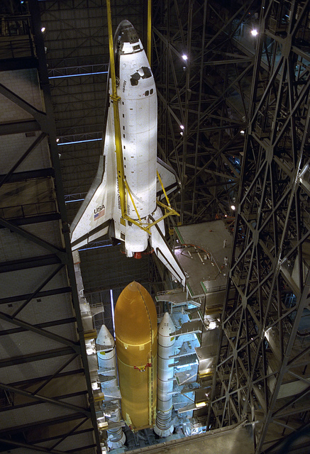 STS-79 Destacking in VAB