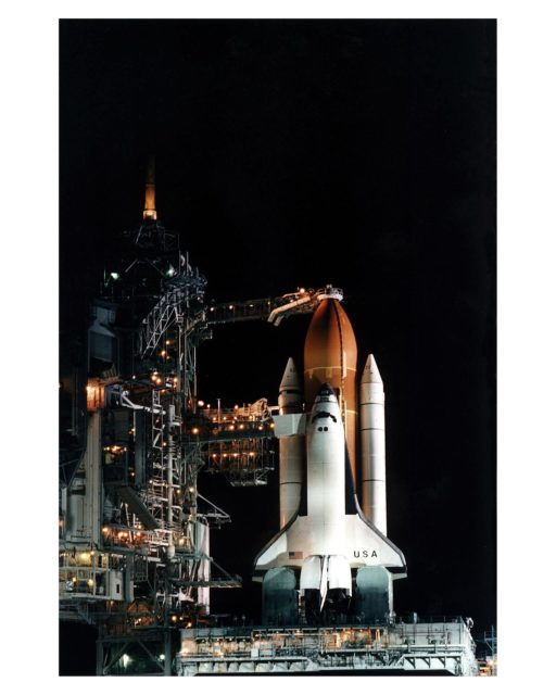 The Space Shuttle Columbia stands poised in the night for the STS-83 Microgravity Science Laboratory-1 (MSL-1) mission after the Rotating Service Structure of Launch Pad 39A has been moved back prior to the start of fueling operations that take place about 12 hours before liftoff. During the scheduled 16-day STS-83 mission, the MSL-1 will be used to test some of the hardware, facilities and procedures that are planned for use on the International Space Station as well as research in combustion, protein crystal growth and materials processing experiments KSC-97pc570
