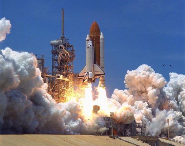 KENNEDY SPACE CENTER, Fla. -- The Space Shuttle Columbia soars from Launch  Pad 39A at 2:02 p.m. EDT July 1 to begin the 16-day STS-94 Microgravity Science  Laboratory-1 (MSL-1) mission. The launch window was opened 47 minutes earlier than  the originally scheduled time of 2:37 p.m. to improve the opportunity to lift off before  Florida summer rain showers reached the space center. The  crew members are Mission  Commander James D. Halsell Jr.; Pilot Susan L. Still; Payload Commander Janice Voss;  Mission Specialists Michael L.Gernhardt and Donald A. Thomas; and Payload Specialists  Roger K. Crouch and Gregory T. Linteris. During the space flight, the MSL-1 will be  used to test some of the hardware, facilities and procedures that are planned for use on the  International Space Station while the flight crew conducts combustion, protein crystal  growth and materials processing experiments. Also onboard is the Hitchhiker Cryogenic  Flexible Diode (CRYOFD) experiment payload, which is attached to the right side of  Columbia's payload bay. These payloads had previously flown on the STS-83 mission in  April, which was cut short after nearly four days because of indications of a faulty fuel  cell. STS-94 is a reflight of that mission KSC-97PC963