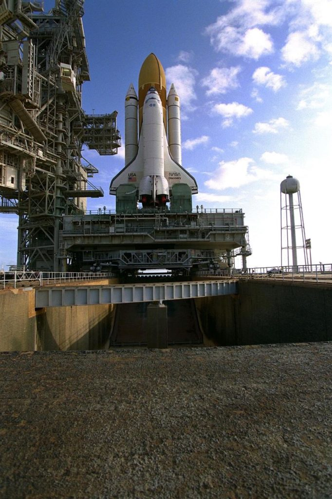 """KENNEDY SPACE CENTER, Fla. -- The Space Shuttle Discovery, targeted for launch on August 7, 1997, on mission <a href=""""http://www.ksc.nasa.gov/shuttle/missions/sts-85/mission-sts-85.html"""">STS-85</a>, rolls out to <a href=""""http://www-pao.ksc.nasa.gov/kscpao/nasafact/pads.htm"""">Launch Complex 39A</a>.  STS-85 will feature the second flight of the Cryogenic Infrared Spectrometers and Telescopes for the Atmosphere-Shuttle Pallet Satellite (<a href=""""http://www.crista.uni-wuppertal.de"""">CRISTA-SPAS</a>) KSC-97PC1036"""