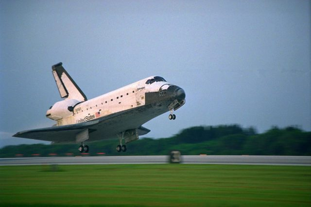 KENNEDY SPACE CENTER, FLA. -- The Space Shuttle orbiter Columbia touches  down on Runway 33 at KSC's Shuttle Landing Facility at 6:46:34 a.m. EDT with  Mission Commander  James D. Halsell Jr. and Pilot Susan L. Still at the controls to  complete the STS-94 mission. Also on board are Mission Specialist Donald A. Thomas,  Mission Specialist Michael L. Gernhardt, Payload Commander Janice Voss, and Payload  Specialists Roger K. Crouch and Gregory T. Linteris. During the Microgravity Science  Laboratory-1 (MSL-1) mission, the Spacelab module was used to test some of the  hardware, facilities and procedures that are planned for use on the International Space  Station while the flight crew conducted combustion, protein crystal growth and materials  processing experiments. This mission was a reflight of  the STS-83 mission that lifted off   from KSC in April of this year. That space flight was cut short due to indications of a  faulty fuel cell. This was Columbia's 11th landing at KSC and the 38th landing at the  space center in the history of the Shuttle program KSC-97PC1044