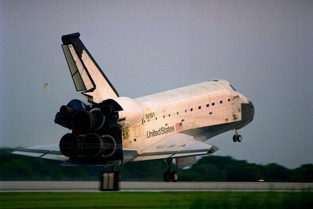 KENNEDY SPACE CENTER, FLA. -- The Space Shuttle orbiter Columbia touches  down on Runway 33 at KSC's Shuttle Landing Facility at 6:46:34 a.m. EDT with  Mission Commander  James D. Halsell Jr. and Pilot Susan L. Still at the controls to  complete the STS-94 mission. Also on board are Mission Specialist Donald A. Thomas,  Mission Specialist Michael L. Gernhardt, Payload Commander Janice Voss, and Payload  Specialists Roger K. Crouch and Gregory T. Linteris. During the Microgravity Science  Laboratory-1 (MSL-1) mission, the Spacelab module was used to test some of the  hardware, facilities and procedures that are planned for use on the International Space  Station while the flight crew conducted combustion, protein crystal growth and materials  processing experiments. This mission was a reflight of  the STS-83 mission that lifted off   from KSC in April of this year. That space flight was cut short due to indications of a  faulty fuel cell. This was Columbia's 11th landing at KSC and the 38th landing at the  space center in the history of the Shuttle program KSC-97PC1047