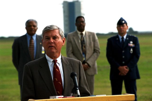 United States Senator Bob Graham of Florida announces important new federal legislation designed to support the nation's continued space industry development. The announcement was made at Launch Complex 46 at the Cape Canaveral Air Station, the dual-use Navy facility recently modified for commercial launches by the State of Florida. In the background, from left to right, are Hugh Brown, Chairman, Spaceport Florida Authority; Charles Johnson, Athena Program Manager, Lockheed Martin Astronautics; and Col. Ron Larivee, Vice Commander, 45th Space Wing KSC-97PC1763