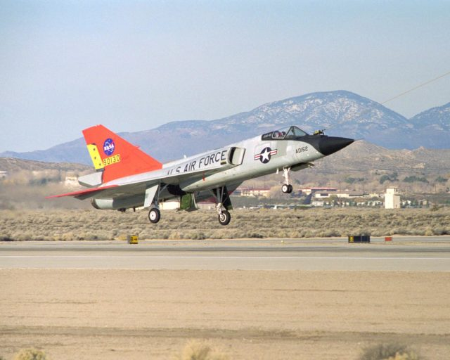 Eclipse project closeup of QF-106 under tow on takeoff on first flight December 20, 1997 EC97-44357-9