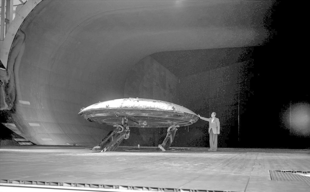 Tests Of Avrocar Annular Jet VTOL Airplane in Ames 40x80 foot Wind Tunnel.