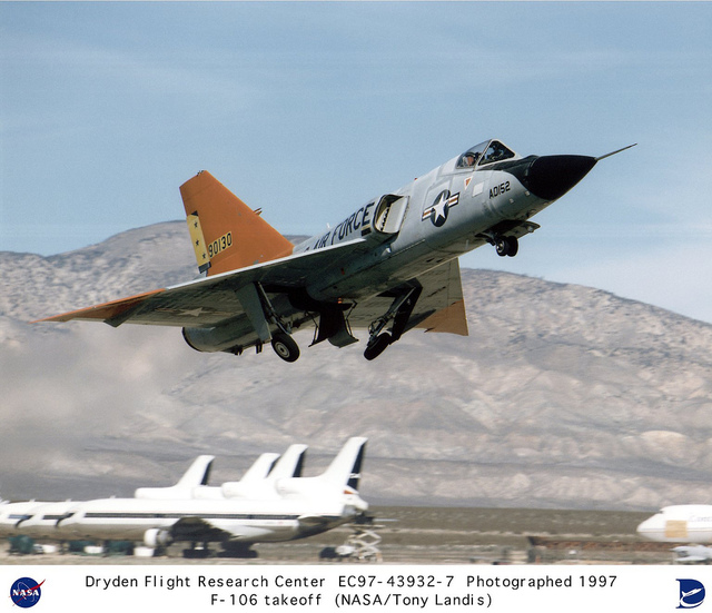 Eclipse program F-106 aircraft takeoff from airport in Mojave, California