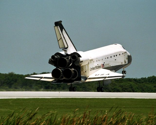 The orbiter Columbia approaches touchdown on Runway 33 of KSC's Shuttle Landing Facility to complete the nearly 16-day STS-90 mission. Main gear touchdown was at 12:08:59 p.m. EDT on May 3, 1998, landing on orbit 256 of the mission. The wheels stopped at 12:09:58 EDT, completing a total mission time of 15 days, 21 hours, 50 minutes and 58 seconds. The 90th Shuttle mission was Columbia's 13th landing at the space center and the 43rd KSC landing in the history of the Space Shuttle program. During the mission, the crew conducted research to contribute to a better understanding of the human nervous system. The crew of the STS-90 Neurolab mission include Commander Richard Searfoss; Pilot Scott Altman; Mission Specialists Richard Linnehan, D.V.M., Dafydd (Dave) Williams, M.D., with the Canadian Space Agency, and Kathryn (Kay) Hire; and Payload Specialists Jay Buckey, M.D., and James Pawelczyk, Ph.D KSC-98pc558