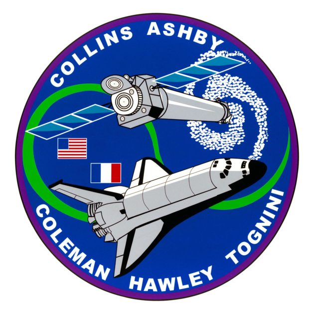 """STS093-S-001 (September 1998) --- This is the STS-93 mission insignia designed by the crew members. Space shuttle Columbia will carry the Advanced X-ray Astrophysics Facility (AXAF) into low Earth orbit initiating its planned five-year astronomy mission. AXAF is the third of NASA's great observatories, following the Hubble Space Telescope (HST) and the Compton Gamma Ray Observatory (GRO). AXAF will provide scientists and order-of magnitude improvement over current capabilities at X-ray wavelengths. In the words of the crew, """"Observations of X-ray emissions from energetic galaxies and clusters, as well as black holes, promise to greatly expand current understanding of the origin and evolution of our universe."""" The patch depicts AXAF separating from the space shuttle Columbia after a successful deployment. A spiral galaxy is shown in the background as a possible target for AXAF observations. The two flags represent the international crew, consisting of astronauts from both the United States and France.    The NASA insignia design for space shuttle flights is reserved for use by the astronauts and for other official use as the NASA Administrator may authorize. Public availability has been approved only in the forms of illustrations by the various news media. When and if there is any change in this policy, which is not anticipated, the change will be publicly announced. Photo credit: NASA sts093-s-001"""