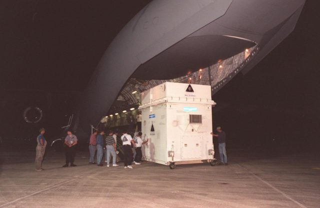 The Mars Climate Orbiter spacecraft arrives at KSC's Shuttle Landing Facility aboard an Air Force C-17 cargo plane early this morning following its flight from the Lockheed Martin Astronautics plant in Denver, Colo. When the spacecraft arrives at the red planet, it will primarily support its companion Mars Polar Lander spacecraft, planned for launch on Jan. 3, 1999. After that, the Mars Climate Orbiter's instruments will monitor the Martian atmosphere and image the planet's surface on a daily basis for one Martian year (1.8 Earth years). It will observe the appearance and movement of atmospheric dust and water vapor, as well as characterize seasonal changes on the surface. The detailed images of the surface features will provide important clues to the planet's early climate history and give scientists more information about possible liquid water reserves beneath the surface. The scheduled launch date for the Mars Climate Orbiter is Dec. 10, 1998, on a Delta II 7425 rocket KSC-98pc1046