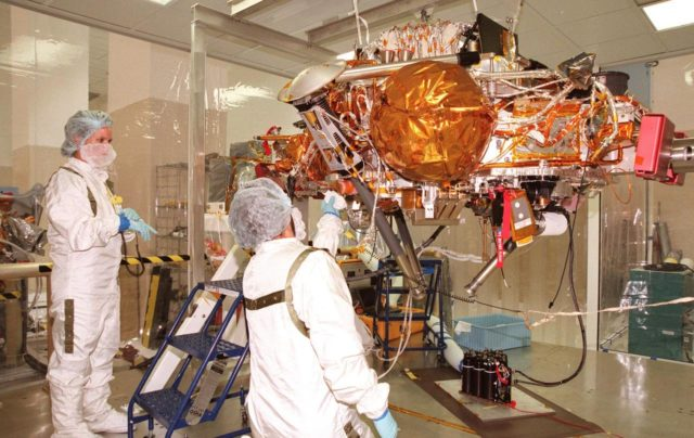 KENNEDY SPACE CENTER, FLA. -- In the Spacecraft Assembly and Encapsulation Facility-2 (SAEF-2), technicians test the science instruments and the basic spacecraft subsystems on the Mars Polar Lander. The solar-powered spacecraft is targeted for launch from Cape Canaveral Air Station aboard a Delta II rocket on Jan. 3, 1999. It is designed to touch down on the Martian surface near the northern-most boundary of the south pole in order to study the water cycle there. The lander also will help scientists learn more about climate change and current resources on Mars, studying such things as frost, dust, water vapor and condensates in the Martian atmosphere KSC-98pc1337