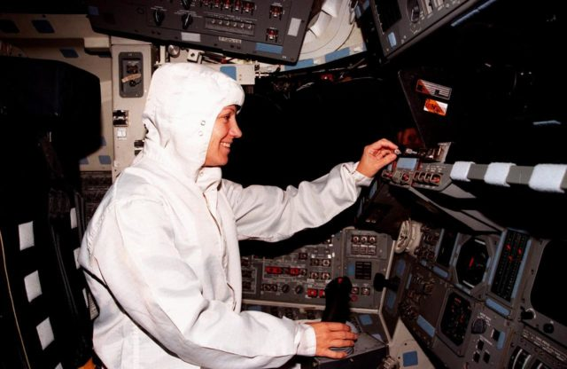 During the Crew Equipment Interface Test (CEIT) for mission STS-93, Mission Commander Eileen M. Collins checks out the flight deck on the orbiter Columbia, in the Orbiter Processing Facility Bay 3. The CEIT provides an opportunity for crew members to check equipment and facilities that will be aboard the orbiter during their mission. The STS-93 mission will deploy the Advanced X-ray Astrophysics Facility (AXAF) which comprises three major elements: the spacecraft, the telescope, and the science instrument module (SIM). AXAF will allow scientists from around the world to obtain unprecedented X-ray images of a variety of high-energy objects to help understand the structure and evolution of the universe. Collins is the first woman to serve as a shuttle mission commander. The other STS-93 crew members are Mission Specialist Catherine G. Coleman, Pilot Jeffrey S. Ashby, Mission Specialist Steven A. Hawley and Mission Specialist Michel Tognini of France. Targeted date for the launch of STS-93 is March 18, 1999 KSC-98pc1688