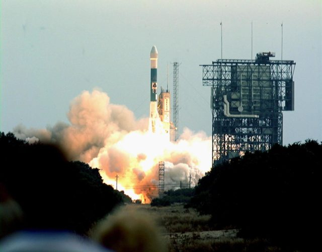 A Boeing Delta II expendable launch vehicle lifts off with NASA's Mars Climate Orbiter at 1:45:51 p.m. EST, on Dec. 11, 1998, from Launch Complex 17A, Cape Canaveral Air Station. The launch was delayed one day when personnel detected a battery-related software problem in the spacecraft. The problem was corrected and the launch was rescheduled for the next day. The first of a pair of spacecraft to be launched in the Mars Surveyor '98 Project, the orbiter is heading for Mars where it will first provide support to its companion Mars Polar Lander spacecraft, which is planned for launch on Jan. 3, 1999. The orbiter's instruments will then monitor the Martian atmosphere and image the planet's surface on a daily basis for one Martian year (1.8 Earth years). It will observe the appearance and movement of atmospheric dust and water vapor, as well as characterize seasonal changes on the surface. The detailed images of the surface features will provide important clues to the planet's early climate history and give scientists more information about possible liquid water reserves beneath the surface KSC-digitalmco
