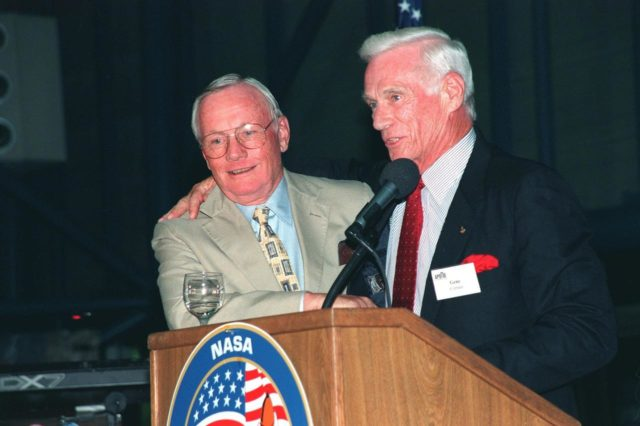 """KENNEDY SPACE CENTER, FLA. -- During an anniversary banquet honoring the Apollo program team, the people who made the entire lunar landing program possible, former Apollo astronauts Neil Armstrong (left) and Gene Cernan talk about their experiences. The banquet was held in the Apollo/Saturn V Center, part of the KSC Visitor Complex. This is the 30th anniversary of the Apollo 11 launch and moon landing, July 16 and July 20, 1969. Other guests at the banquet were astronauts Wally Schirra, Edwin """"Buzz"""" Aldrin and Walt Cunningham. Neil Armstrong was the first man to walk on the moon; Gene Cernan was the last KSC-99pp0935"""
