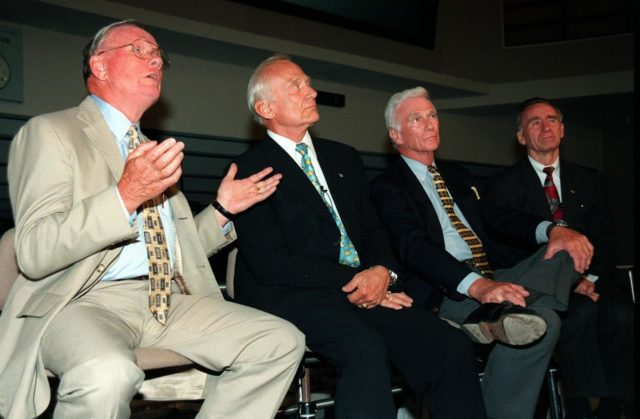 """KENNEDY SPACE CENTER, FLA. -- Former Apollo astronauts meet with the media at the Apollo/Saturn V Center prior to an anniversary banquet highlighting the contributions of aerospace employees who made the Apollo program possible. From left are Neil A. Armstrong and Edwin """"Buzz"""" Aldrin who flew on Apollo 11, the launch to the moon; Gene Cernan, who flew on Apollo 10 and 17; and Walt Cunningham, who flew on Apollo 7. This is the 30th anniversary of the launch and moon landing, July 16 and July 20, 1969. Neil Armstrong was the first man to set foot on the moon KSC-99pp0840"""