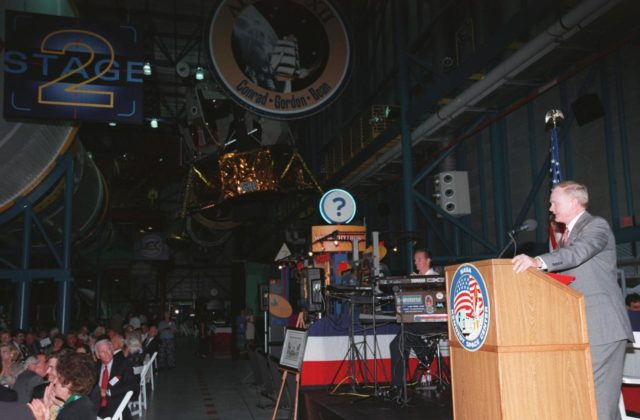"KENNEDY SPACE CENTER, FLA. -- At an anniversary banquet honoring the Apollo program team, the people who made the entire lunar landing program possible, Center Director Roy D. Bridges offers remarks. The banquet was held in the Apollo/Saturn V Center, part of the KSC Visitor Complex. This is the 30th anniversary of the Apollo 11 launch and moon landing, July 16 and July 20, 1969. Among the guests at the banquet were astronauts Neil Armstrong, Edwin ""Buzz"" Aldrin, Wally Schirra, Gene Cernan and Walt Cunningham. Neil Armstrong was the first man to walk on the moon; Gene Cernan was the last KSC-99pp0934"
