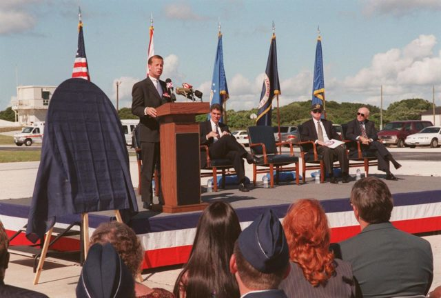 At Cape Canaveral Air Station's Complex 3/4, officials held a ceremony, kicking off a year-long series of events commemorating 50 years of launches from the Space Coast, that began with the Bumper rockets. From left are Lieutenant Governor of the State of Florida Frank T. Brogan; Congressman David Weldon, 15th Congressional District of the State of Florida; Center Director Roy D. Bridges; and Executive Director Edward F. Gormel, Joint Performance Management Office. Also present (but not seen) is Brig. Gen. Donald P. Pettit, Commander, 45th Space Wing. After six Bumper launches at White Sands Proving Grounds, N.M., and a failed Bumper 7, a successful Bumper 8 lifted off July 24, 1950, from Complex 3/4 to conduct aerodynamic investigations around Mach 7 at relatively low altitudes. The kick-off event also inaugurated a student art contest to design a commemorative etching. The winning artwork will be permanently displayed on a 24-inch black granite square in the U.S. Space Walk Hall of Fame in Titusville, Fla KSC-99pp1064