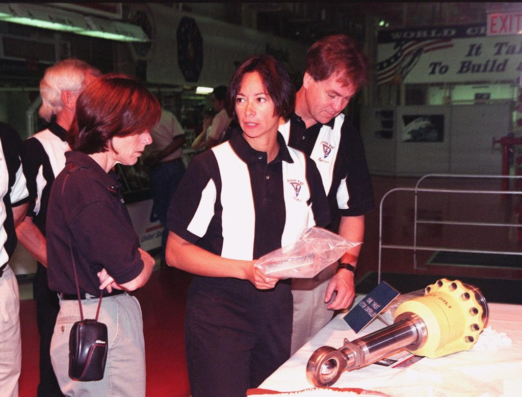 In the Orbiter Processing Facility, 1998 astronaut candidates (ASCAN) Barbara R. Morgan, Patricia C. Hilliard (M.D.) and Bjarni V. Tryggvason look at the hardware exhibits, such as the engine actuator on the table. Tryggvason is with the Canadian Space Agency. The 1998 ASCAN class is at KSC for training activities, including fire training and a flight awareness program, plus touring the OPF, SSME Processing Facility, VAB, SSPF, launch pads, SLF, Apollo/Saturn V Center and the crew headquarters. Other U.S. candidates in the '98 class are Clayton C. Anderson, Lee J. Archambault, Tracy E. Caldwell (Ph.D.), Gregory E. Chamitoff (Ph.D.), Timothy J. Creamer, Christopher J. Ferguson, Michael J. Foreman, Michael E. Fossum, Kenneth T. Ham, Gregory C. Johnson, Gregory H. Johnson, Stanley G. Love (Ph.D.), Leland D. Melvin, William A. Oefelein, John D. Olivas (Ph.D.), Nicholas J.M. Patrick (Ph.D.), Alan G. Poindexter, Garrett E. Reisman (Ph.D.), Steven R. Swanson, Douglas H. Wheelock, Sunita L. Williams, Neil W. Woodward III, George D. Zamka; and the other international candidates are Leopold Eyharts, Paolo Nespoli, Hans Schlegel, Roberto Vittori, and Marcos Pontes KSC-99pp1149