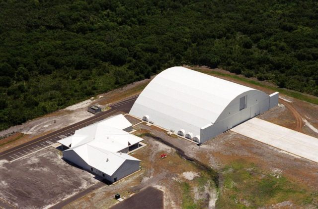 This closeup photo shows the Reusable Launch Vehicle (RLV) Support Complex at Kennedy Space Center. At right is a multi-purpose hangar and to the left is a building for related ground support equipment and administrative/ technical support. The complex is situated at the Shuttle Landing Facility. The RLV complex will be available to accommodate the Space Shuttle; the X-34 RLV technology demonstrator; the L-1011 carrier aircraft for Pegasus and X-34; and other RLV and X-vehicle programs. The complex is jointly funded by the Spaceport Florida Authority, NASA's Space Shuttle Program and KSC KSC00pp0725