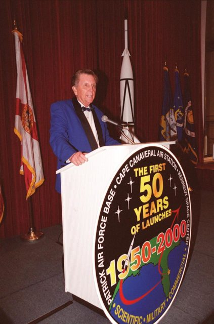 Jay Barbree, a renowned NBC broadcaster and author, emcees the 50th anniversary gala capping a year-long celebration of 50 years of rocket launches from Cape Canaveral Air Force Station. The first launch at CCAFS took place at 9:28 a.m. on July 24, 1950, with the liftoff of Bumper 8 from Launch Complex 3. The gala was hosted by the Cape Canaveral Chapter Air Force Association KSC00pp0930