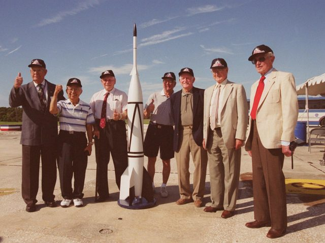 A 50th Anniversary Ceremony was held today in honor of the first rocket launch, called Bumper 8, from Pad 3 at Cape Canaveral on July 24, 1950. Members of the original Bumper 8 team reconvene at the ceremony with a Bumper 8 model rocket. The model was later launched as part of the festivities. Other activities included presentation of a Bumper Award to the Honorable George Kirkpatrick, State Senator, District 5; remarks by Center Director Roy Bridges and Commander, 45th Space Wing, Brig. Gen. Donald Pettit; and a reception at Hangar C. Bumper consisted of a German V-2 missile acting as the booster and a U.S. Army WAC Corporal rocket as the second stage. Since 1950 there have been a total of 3,245 launches from Cape Canaveral KSC-00pp0972