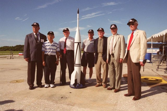 A 50th Anniversary Ceremony was held today in honor of the first rocket launch, called Bumper 8, from Pad 3 at Cape Canaveral on July 24, 1950. Members of the original Bumper 8 team reconvene at the ceremony with a Bumper 8 model rocket. The model was later launched as part of the festivities. Other activities included presentation of a Bumper Award to the Honorable George Kirkpatrick, State Senator, District 5; remarks by Center Director Roy Bridges and Commander, 45th Space Wing, Brig. Gen. Donald Pettit; and a reception at Hangar C. Bumper consisted of a German V-2 missile acting as the booster and a U.S. Army WAC Corporal rocket as the second stage. Since 1950 there have been a total of 3,245 launches from Cape Canaveral KSC00pp0971
