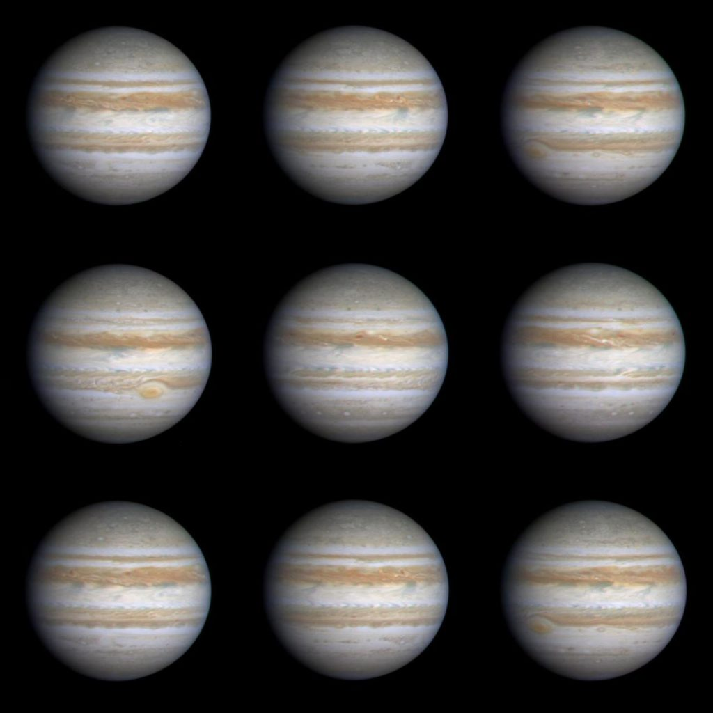 Nine Frames as Jupiter Turns