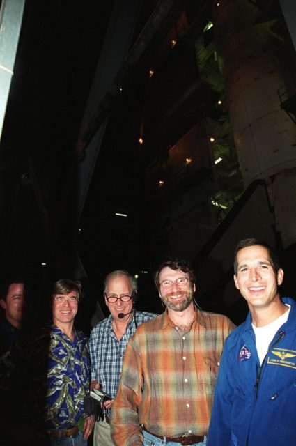 Members of the crew of the television series This Old House pause for a photo during a tour of KSC with astronaut John Herrington (far right). Second from left is Steve Thomas, host of the show. Second from right is Norm Abram, master carpenter on the series. The cast and crew of This Old House are filming at KSC for an episode of the show KSC00pp1954