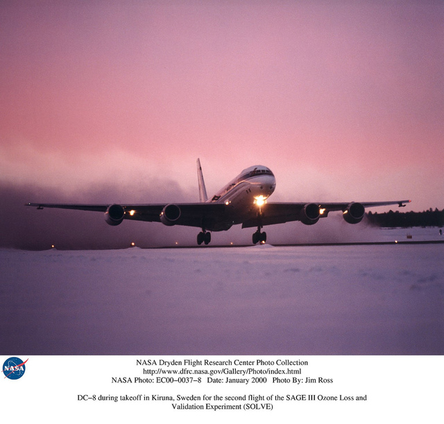DC-8 during takeoff in Kiruna, Sweden for the second flight of the SAGE III Ozone Loss and Validation Experiment (SOLVE)