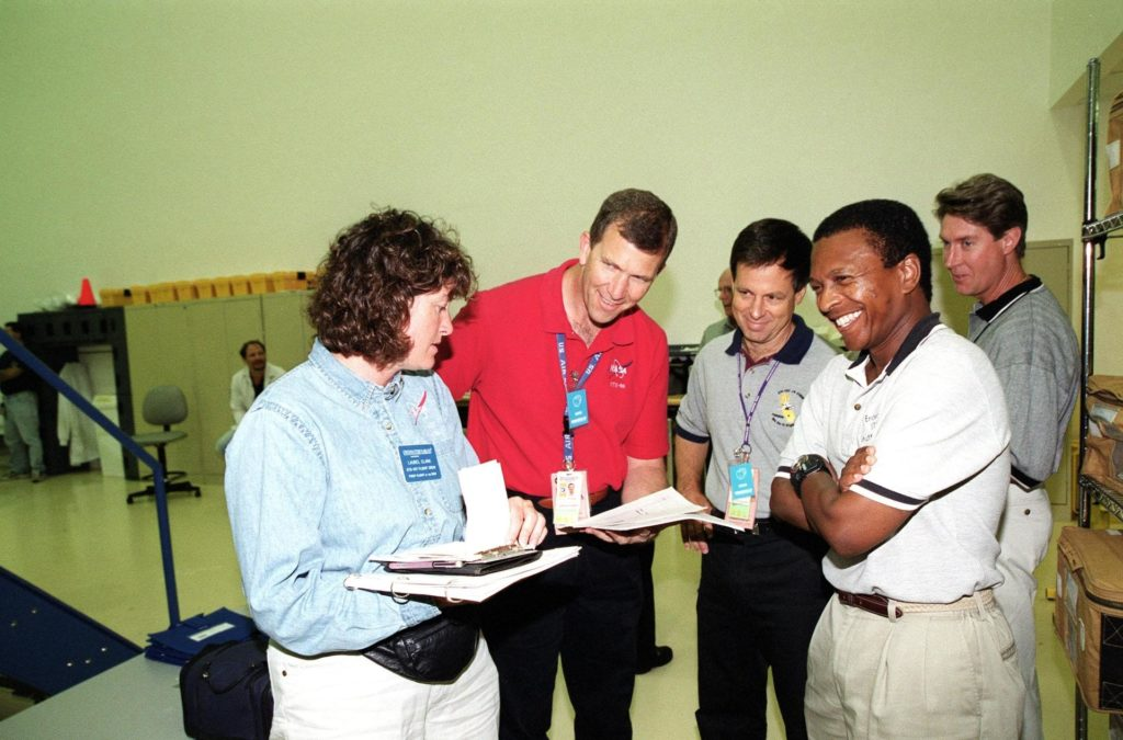 KENNEDY SPACE CENTER, Fla. -- At SPACEHAB, Cape Canaveral, Fla., the STS-107 crew takes part in Crew Equipment Interface Test (CEIT) activities. From left are Mission Specialist Laurel Blair Salton Clark, Commander Rick Douglas Husband, Payload Specialist Ilan Ramon, of Israel, and Payload Commander Michael P. Anderson. A trainer is at far right. As a research mission, STS-107 will carry the Spacehab Double Module in its first research flight into space and a broad collection of experiments ranging from material science to life science. The CEIT activities enable the crew to perform certain flight operations, operate experiments in a flight-like environment, evaluate stowage locations and obtain additional exposure to specific experiment operations. Other STS-107 crew members are Pilot William C. McCool and Mission Specialists Kalpana Chawla and David M. Brown. STS-107 is scheduled for launch May 23, 2002 KSC01pd1116