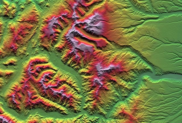 SRTM Colored Height and Shaded Relief: Laguna Mellquina, Andes Mountains, Argentina