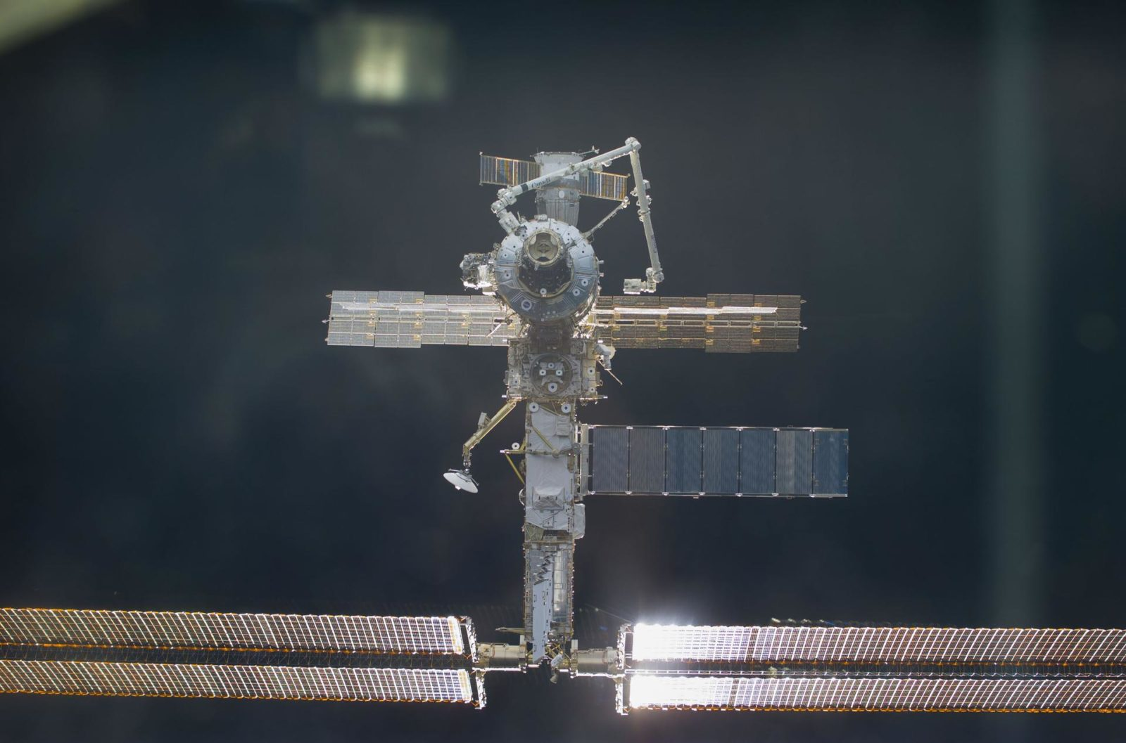 ISS during approach by STS-104 orbiter Atlantis