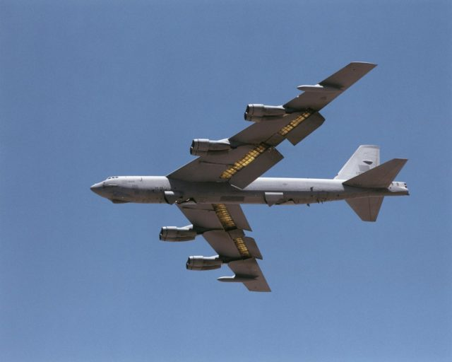 A B-52H, on loan to NASA's Dryden Flight Research Center, makes a pass down the runway prior to landing at Edwards Air Force Base, California. EC01-0220-1
