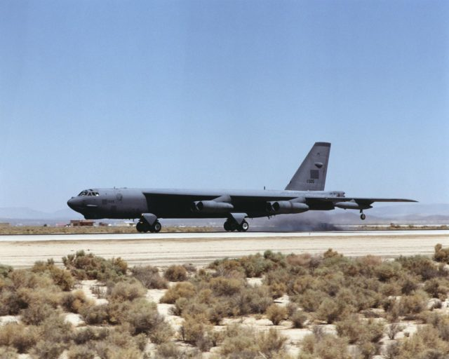 "A B-52 ""H"" model, on loan to NASA Dryden from the U.S. Air Force, touches down at Edwards Air Force Base, California, July 30, 2001. EC01-0220-3"