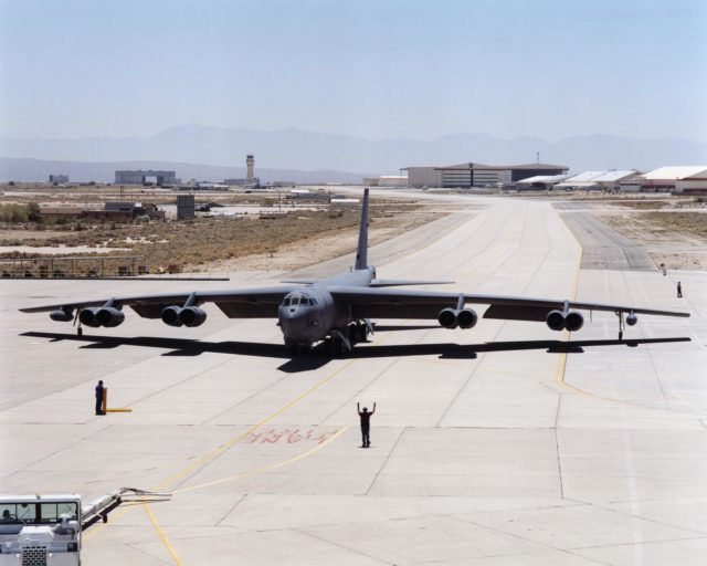 A B-52H, tail number 61-0025, arrives at NASA's Dryden Flight Research Center after landing July 30, 2001. EC01-0220-6