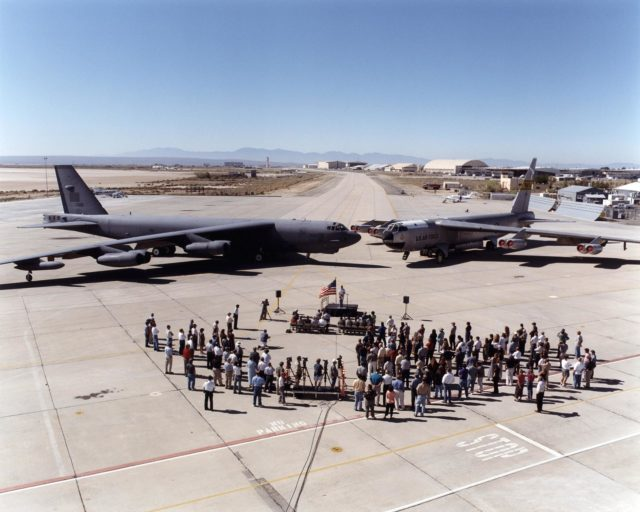 "A newly arrived B-52H is seen here alongside NASA Dryden's venerable B-52 ""B"" model during its arrival ceremony on August 1, 2001. EC01-0223-1"