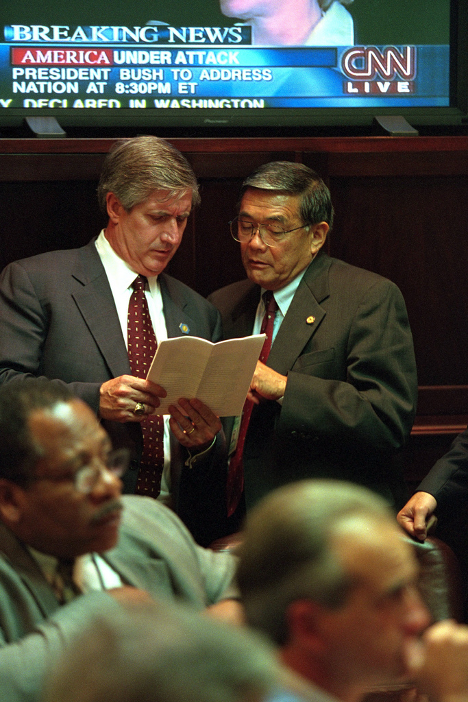 911: Andy Card and Norman Mineta Confer, 09/11/2001.