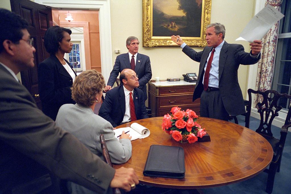 911: President George W. Bush and Speech Preparation, 09/11/2001.