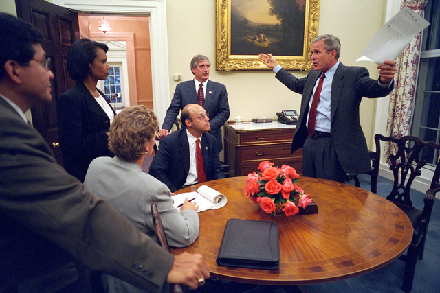 911: President George W. Bush and Speech Preparation, 09/11/2001.